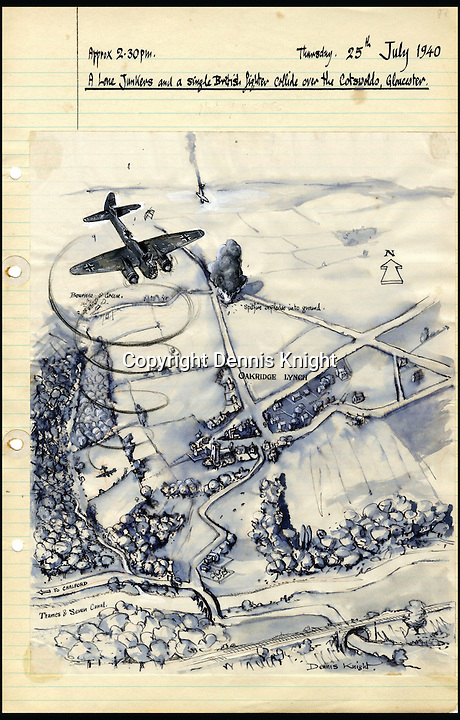 BNPS.co.uk (01202 558833)<br /> Pic: DennisKinght/BNPS<br /> <br /> A Junkers and a single British fighter collide over the Cotwolds, Gloucester on 25th July, 1940.<br /> <br /> An artistic historian has reconstructed hundreds of Battle of Britain aircraft losses in accurate drawings after spending years travelling the English countryside researching the wartime events.<br /> <br /> Dennis Knight visited villages where stricken RAF and Luftwaffe planes met their end and tracked down surviving eye-witnesses to get first hand accounts of the incidents.<br /> <br /> The 85 year old combined the testimonies and local records to help him accurately recreate the downfall of hundreds of World War Two bombers and fighter planes in his colourful drawings.