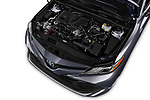 Car stock 2018 Toyota Camry XLE Hybrid 4 Door Sedan engine high angle detail view