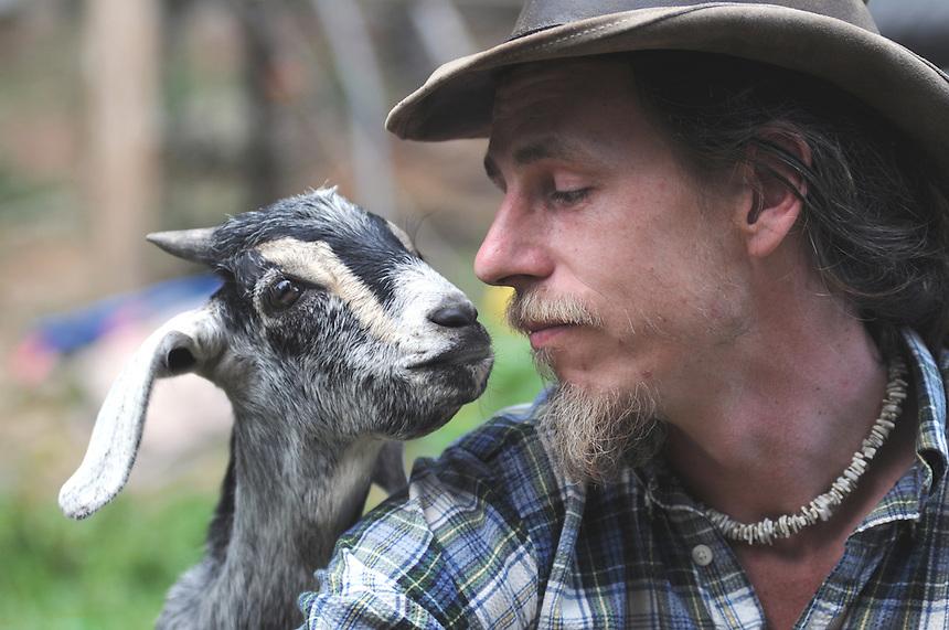 Goat Farmer Shamus Burrell, Kaslo, British Columbia.