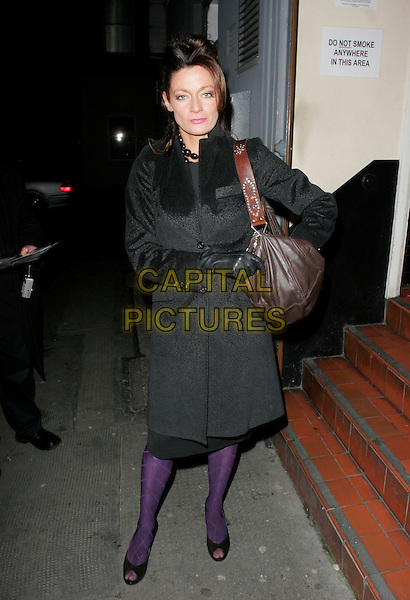 MICHELLE GOMEZ.Boeing-Boeing - press night, Comedy Theatre, London, UK..February 15th, 2007.Boeing full length black coat brown leather bag purse purple tights gloves peeptoe shoes.CAP/AH.©Adam Houghton/Capital Pictures