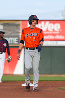 Bowling Green Hot Rods second baseman Ford Proctor (9) leads off second base during a Midwest League game against the Cedar Rapids Kernels on May 2, 2019 at Perfect Game Field in Cedar Rapids, Iowa. Bowling Green defeated Cedar Rapids 2-0. (Brad Krause/Four Seam Images)