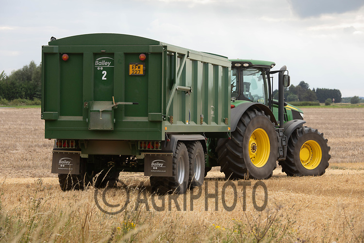24.7.2020 Tractor and trailer waits for grain whilst harvesting Wheat in South Lincolnshire <br /> ©Tim Scrivener Photographer 07850 303986<br />      ....Covering Agriculture In The UK.