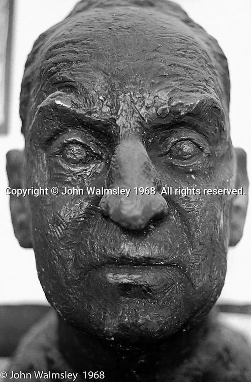 Bust of A.S.Neill's head, Summerhill school, Leiston, Suffolk, UK. 1968.