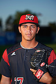 Batavia Muckdogs relief pitcher Geral Silva (37) poses for a photo before a game against the Staten Island Yankees on August 26, 2016 at Dwyer Stadium in Batavia, New York.  Staten Island defeated Batavia 6-2. (Mike Janes/Four Seam Images)