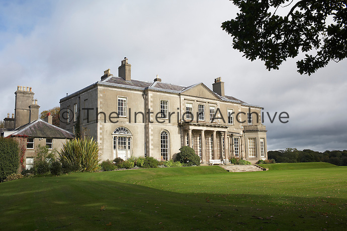 The exterior of an early Georgian mansion, known locally as Ballyleidy, dating from 1801 and built by Robert Woodgate. The house is on the the Clandeboye estate and is home to Lady Dufferin, Marchioness of Dufferin and Ava.