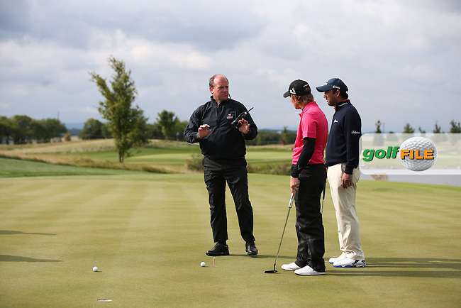 Rules referee speaks with Emiliano Grillo (ARG) and Shiv Kapur (IND) as their balls collide on the 9th during the Final Round of the D&D Real Czech Masters 2014 from the Albatross Golf Resort, Vysoky Ujezd, Prague. Picture:  David Lloyd / www.golffile.ie