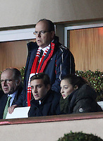 Prince Albert II of Monaco, Pierre Casiraghi & Beatrice Borromeo attend a football match