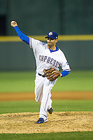 Round Rock Express pitcher Justin Germano #21 delivers a pitch to the plate during the Pacific Coast League baseball game against the Memphis Redbirds on April 24, 2014 at the Dell Diamond in Round Rock, Texas. The Express defeated the Redbirds 6-2. (Andrew Woolley/Four Seam Images)