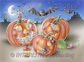 Interlitho, Lorella, REALISTIC ANIMALS, Halloween, paintings, 3 pumpkins, animals(KL3664,#A#)
