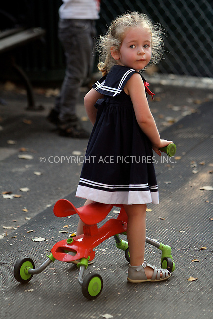 WWW.ACEPIXS.COM....October 5 2012, New York City....Twins Tabitha and Marion Broderick went to a playground in the West viallage with a nanny on October 5 2012 in New York City......By Line: Nancy Rivera/ACE Pictures......ACE Pictures, Inc...tel: 646 769 0430..Email: info@acepixs.com..www.acepixs.com