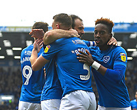 Brett Pitman of Portsmouth middle celebrates his goal with Lee Brown and Jamal Lowe  during Portsmouth vs Rochdale, Sky Bet EFL League 1 Football at Fratton Park on 13th April 2019
