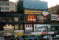 Union Square on the south side, showing East 14th Street between Fourth Ave. and Broadway on December 1987. (© Richard B. Levine)