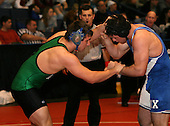 Bobby Tobia and Joe Zitone wrestle at the 285 weight class during the NY State Wrestling Championships at Blue Cross Arena on March 8, 2008 in Rochester, New York.  (Copyright Mike Janes Photography)