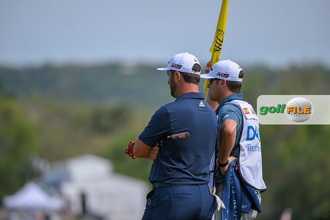 Jon Rahm (ESP) and his caddie look over the green on 15 during day 2 of the WGC Dell Match Play, at the Austin Country Club, Austin, Texas, USA. 3/28/2019.<br /> Picture: Golffile | Ken Murray<br /> <br /> <br /> All photo usage must carry mandatory copyright credit (© Golffile | Ken Murray)