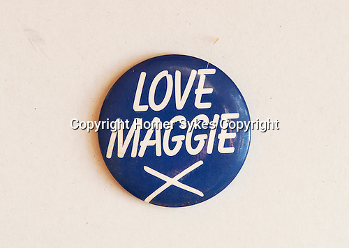 Love Maggie X badge.  Margaret Thatcher 1983 General Election  UK