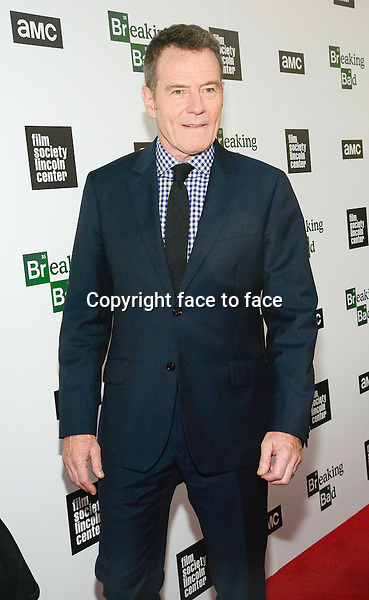Bryan Cranston attend The Film Society Of Lincoln Center And AMC Celebration Of 'Breaking Bad' Final Episodes at The Film Society of Lincoln Center, Walter Reade Theatre in New York, 31.07.2013.<br /> Credit: MediaPunch/face to face<br /> - Germany, Austria, Switzerland, Eastern Europe, Australia, UK, USA, Taiwan, Singapore, China, Malaysia, Thailand, Sweden, Estonia, Latvia and Lithuania rights only -