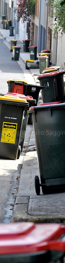 A collection of wheelie bins sits in a side street in the inner-Sydney suburb of Paddington.