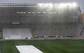 23rd March 2018, Eden Park, Auckland, New Zealand; International Test Cricket, New Zealand versus England, day 2;  Rain pours down at Eden Park