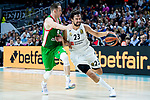 Real Madrid Sergio Llull and Kirolbet Baskonia Marcelinho Huertas during Turkish Airlines Euroleague match between Real Madrid and Kirolbet Baskonia at Wizink Center in Madrid, Spain. October 19, 2018. (ALTERPHOTOS/Borja B.Hojas)