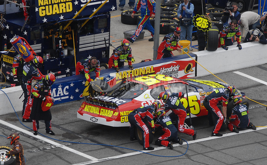 Feb 15, 2007; Daytona, FL, USA; Nascar Nextel Cup Series driver Casey Mears (25) pits during race one of the Gatorade Duel at Daytona International Speedway. Mandatory Credit: Mark J. Rebilas