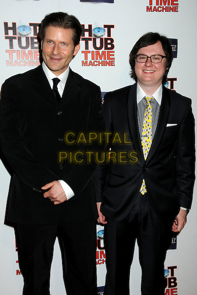 "CRISPIN GLOVER & CLARK DUKE.""Hot Time Time Machine"" World Premiere Party held at the Cabana Club, Hollywood, California, USA..March 17th, 2010.half length 3/4 glasses black white collar grey gray yellow.CAP/ADM/BP.©Byron Purvis/AdMedia/Capital Pictures."