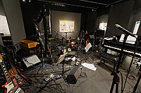"""Pictured: Instruments on stage. Saturday 21 September 2019<br /> Re: Concert for the exhibition of """"No More Shall We Part, 14 Paintings, 17 Years Later"""", a collection of paintings based on the Nick Cave and the Bad Seeds album with the same name, by Stefanos Rokos at Bernerts Gallery in Antwerp, Belgium."""