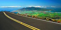 The road in HALEAKALA NATIONAL PARK affords a panoramic view of all of Maui County including the islands of Lanai'i and Molokai, as well as the blue Pacific Ocean