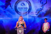 Darling Harbour, Sydney. (20th February, 2013): Minster for Sport Kate Lundy (AUS) presenting Stephanie Gilmore (AUS) with his award for Female Surfer of the Year. Australian surfing celebrated its champions tonight with Mark Richards and Stephanie Gilmore honoured at the Australian Surfing Awards in Sydney...The Awards marked a significant milestone in Surfing Australia's history as it celebrated its 50th Anniversary following its formation in 1963 as the Australian Surfriders Association and over 500 guests celebrated at the gala event. It was an unprecedented gathering of Australian surfing legends from the past 50 years...Four-times World Champion Mark Richards was named Australia's Most Influential Surfer 1963-2013, while five-times World Champion Stephanie Gilmore was inducted as the 35th member of the Australian Surfing Hall of Fame...The campaign to find Australia's 10 Most Influential Surfers 1963-2013 was conducted through a public vote and through votes provided by the members of the Australian Surfing Hall of Fame...The 10, in order of votes received, was: Mark Richards, Simon Anderson, Nat Young, Michael Peterson, Midget Farrelly, Tom Carroll, Layne Beachley, Wayne Bartholomew, Mark Occhilupo and Bob McTavish...Peter 'Joli' Wilson's photo of the wave Cloudbreak off Fiji during the enormous run of swell in June won the Nikon Surf Photo of the Year and Storm Surfers 3D featuring Ross Clarke-Jones and Tom Carroll was named the Nikon Surf Movie of the Year...2013 AUSTRALIAN SURFING AWARDS WINNERS..Australian Surfing Hall of Fame Inductee: Stephanie Gilmore.Australia's Most Influential Surfer 1963-2013: Mark Richards.Male Surfer of the Year: Joel Parkinson.Female Surfer of the Year: Stephanie Gilmore.Rising Star: Jack Freestone.Waterman of the Year: Jamie Mitchell.ASB Surfing Spirit Award: Misfit Aid.Peter Troy Lifestyle Award: Bob Smith.Surf Culture Award: The Reef - by the Australian Chamber Orchestra and Tura New Music.Simon Anderson Club Award: Kirra Sur
