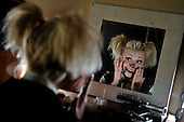 Zippos's Circus at Victoria Park - Glasgow - Andrea Delbosq finishes her clown make-up - picture by Donald MacLeod - 27.6.12 - 07702 319 738 - clanmacleod@btinternet.com - www.donald-macleod.com