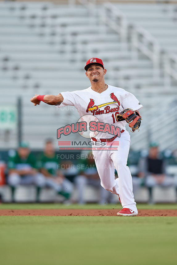 Palm Beach Cardinals third baseman Yariel Gonzalez (16) throws to first base during a Florida State League game against the Daytona Tortugas on April 11, 2019 at Roger Dean Stadium in Jupiter, Florida.  Palm Beach defeated Daytona 6-0.  (Mike Janes/Four Seam Images)