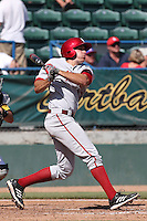 Dustin DeMuth #16 of the Indiana Hoosiers bats against the Long Beach State Dirtbags at Blair Field on March 15, 2014 in Long Beach, California. Indiana defeated Long Beach State 2-1. (Larry Goren/Four Seam Images)