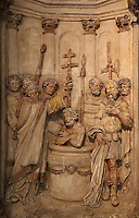 High relief of the baptism of Constantine by St Sylvester, from the Altarpiece of the 3 baptisms, 1610, attributed to Nicolas Jacques, in the Basilique Saint Remi or Abbey of St Remi, Reims, France. The 11th century, mainly Romanesque, church, contains the relics of St Remi, the Bishop of Reims, who converted Clovis, the King of the Franks, to Christianity in 496 AD. The abbey is a UNESCO World Heritage Site. Picture by Manuel Cohen