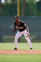 GCL Marlins shortstop Osiris Johnson (9) during a game against the GCL Cardinals on August 4, 2018 at Roger Dean Chevrolet Stadium in Jupiter, Florida.  GCL Marlins defeated GCL Cardinals 6-3.  (Mike Janes/Four Seam Images)