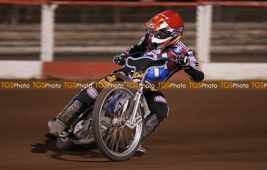 Peter Karlsson of Lakeside Hammers - Lakeside Hammers v Poole Pirates, Elite League Speedway at the Arena Essex Raceway, Pufleet - 04/05/12 - MANDATORY CREDIT: Rob Newell/TGSPHOTO - Self billing applies where appropriate - 0845 094 6026 - contact@tgsphoto.co.uk - NO UNPAID USE..