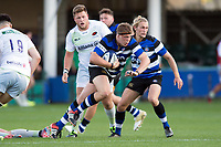 Sam Nixon of Bath United goes on the attack. Aviva A-League match, between Bath United and Saracens Storm on September 1, 2017 at the Recreation Ground in Bath, England. Photo by: Patrick Khachfe / Onside Images