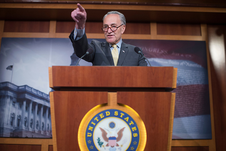 UNITED STATES - MARCH 2: Senate Minority Leader Charles Schumer, D-N.Y., conducts a news conference in the Capitol on allegations that Attorney General Jeff Sessions did not disclose his contacts with the Russian ambassador when asked during his confirmation hearing, March 2, 2017. (Photo By Tom Williams/CQ Roll Call)