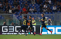 Calcio, Serie A: Roma vs Inter. Roma, stadio Olimpico, 2 ottobre 2016.<br /> FC Inter&rsquo;s Ever Banega, second from left, celebrates with teammates Gary Medel, left, Yuto Nagatomo, second from right, and Mauro Icardi, after scoring during the Italian Serie A football match between Roma and FC Inter at Rome's Olympic stadium, 2 October 2016.<br /> UPDATE IMAGES PRESS/Isabella Bonotto