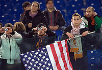 Calcio, Serie A: Roma-Napoli. Roma, stadio Olimpico, 12 febbraio 2011..Football, Italian serie A: AS Roma vs Napoli. Rome, Olympic stadium, 12 february 2011..AS Roma fans hold an U.S. flag..UPDATE IMAGES PRESS/Riccardo De Luca