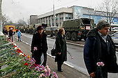 Moscow, Russia.October 28, 2002..Russian arrive at the Theater to place flowers where 850 Russian and foriegn hostages that had been held by bomb ladden Chechen seperatists demanding the Russian military leave Chechnya...After a siege of two and a half days, Russian OSNAZ raided the building after pumping a mysterious chemical agent into the building's ventilation system. All of the terrorists were killed by Russian forces, along with at least 129 of the hostages. There were conceivably more than 200 civilian deaths.