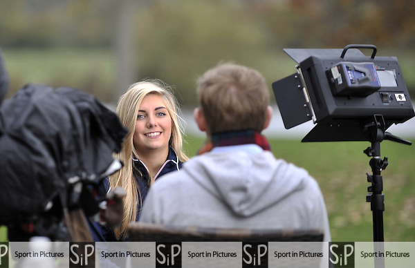 Amber Hill (Womens Skeet) is interviewed for TV. TeamGB announcement of shooting athletes for Rio 2016 Olympics. Bisham Abbey. Marlow. Buckinghamshire. England. UK. 10/11/2015. MANDATORY Credit Garry Bowden/SIPPA - NO UNAUTHORISED USE - 07837 394578