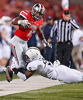 Ohio State Buckeyes Jordan Hall gets knocked out of bounds by Penn State Nittany Lions cornerback Jordan Lucas (9) after a big gain in second half action at Ohio Stadium on October 26, 2013.  (Chris Russell/Dispatch Photo)
