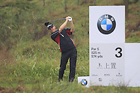Michael Hoey (NIR) tees off the 3rd tee during Thursday's Round 1 of the 2014 BMW Masters held at Lake Malaren, Shanghai, China 30th October 2014.<br /> Picture: Eoin Clarke www.golffile.ie