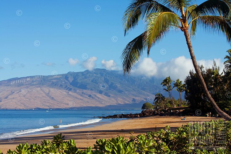 Charley Young Beach, Kihei, Maui, Hawaii.  The West Maui Mountains in the distance.