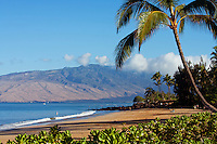 Charley Young Beach, Kihei, Maui, Hawaii.  The West Maui Mountains in the distance.