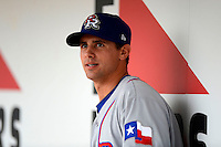 Round Rock Express pitcher Brad Mills #46 during a game against the New Orleans Zephyrs on April 15, 2013 at Zephyr Field in New Orleans, Louisiana.  New Orleans defeated Round Rock 3-2.  (Mike Janes/Four Seam Images)