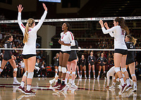 STANFORD, CA - October 12, 2018: Jenna Gray, Tami Alade, Audriana Fitzmorris at Maples Pavilion. No. 2 Stanford Cardinal swept No. 21 Washington State Cougars, 25-15, 30-28, 25-12.