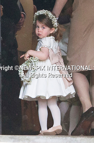 20.05.2017; Englefield, UK: PRINCESS CHARLOTTE<br /> It was both a moment of tears and joy for Princess Charlotte and Prince George who were flowergirl and page boy respectively at aunt Pippa Middleton's Wedding to James Mathews at St Mark's Church, Englefield.<br /> Also present at the church service were the Duke and Duchess of Cambridge, Prince Harry and Princess Eugenie.<br /> Mandatory Photo Credit: &copy;Francis Dias/NEWSPIX INTERNATIONAL<br /> <br /> IMMEDIATE CONFIRMATION OF USAGE REQUIRED:<br /> Newspix International, 31 Chinnery Hill, Bishop's Stortford, ENGLAND CM23 3PS<br /> Tel:+441279 324672  ; Fax: +441279656877<br /> Mobile:  07775681153<br /> e-mail: info@newspixinternational.co.uk<br /> Usage Implies Acceptance of OUr Terms &amp; Conditions<br /> Please refer to usage terms. All Fees Payable To Newspix International