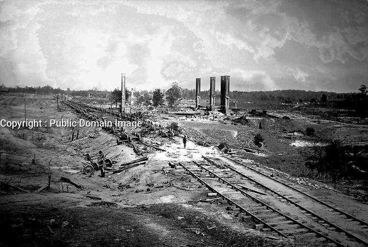 Destruction of Hood's Ordnance Train.  Near Atlanta, 1864.  George N. Barnard. (War  Dept.)<br /> Exact Date Shot Unknown<br /> NARA FILE #: 165-SC-44<br /> WAR & CONFLICT BOOK #:  240