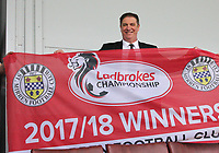 St Mirren CEO Tony Fitzpatrick celebrates after winning the Scottish Professional Football League Ladbrokes Championship at the Paisley 2021 Stadium, Paisley on 14.4.18.