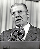 Washington, DC - July 6, 2009 -- Former United States Secretary of Defense Robert S. McNamara, Architect of Vietnam War, died in his sleep at his home in Washington in the early morning of Monday, July 6, 2009. McNamara, who served as Secretary of Defense under Presidents Kennedy and Johnson, was 93.  This file photo from September 30, 1980 shows McNamara, then serving as President of the World Bank, delivering his final address to an opening session of the International Monetary Fund (IMF) Annual Meeting.  McNamara had announced his intention to retire in 1980 as president after serving for 13 years..Credit: Arnie Sachs / CNP